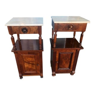 1900s Marble Top American Mahogany & Walnut Nightstands-a Pair For Sale