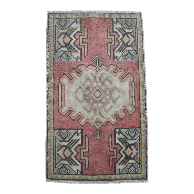 Turkish Small Rug Hand Knotted Mat - 1'9'' X 2'11'' For Sale