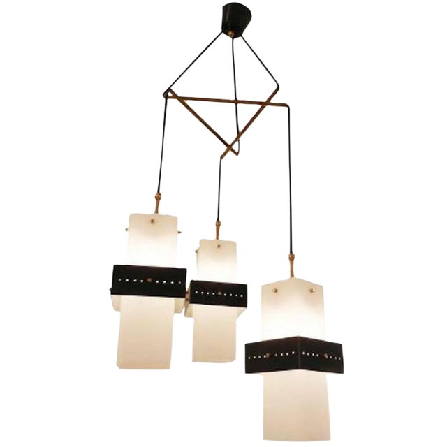 Stilnovo Mobile Shaped Mid-Century Chandelier, Italy circa 1960 For Sale
