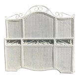 Image of Vintage Boho Chic Queen Wicker Bed Headboard and Footboard - 2 Pieces For Sale
