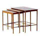 Image of 1970 Mid-century Scandinavian Teak Nesting Tables, Grete Jalk for P.Jeppesens Møbelsnedkeri - Set of 3 For Sale