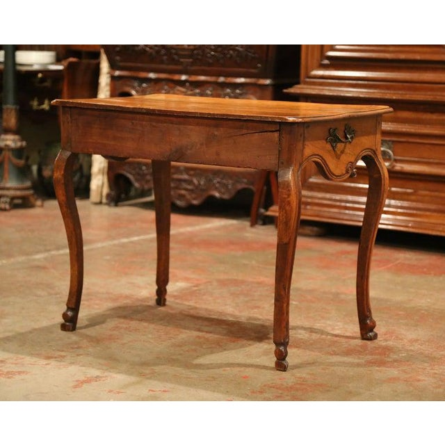 Brown 18th Century French Louis XV Carved Bombe Walnut Console Table From Provence For Sale - Image 8 of 9