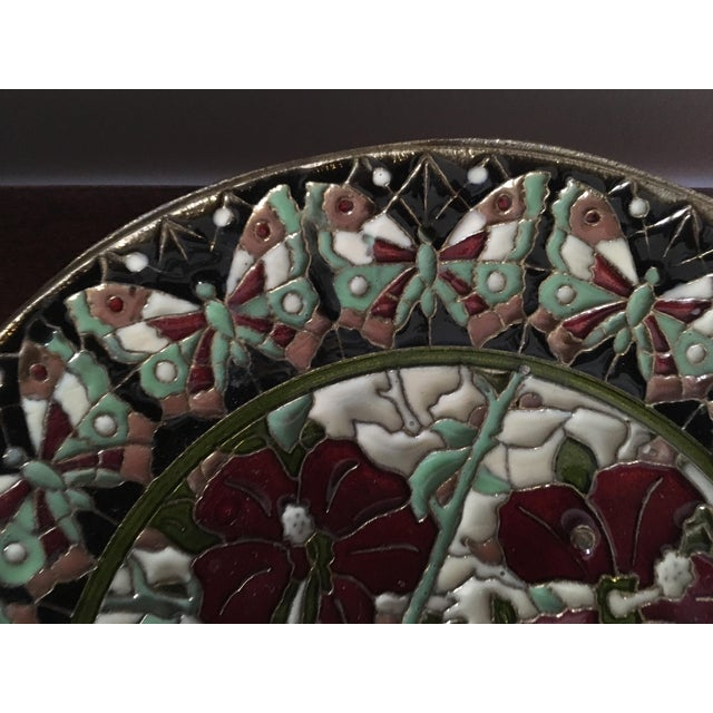 Hand Painted Floral Butterfly Cloisonné Decorative Plate For Sale In Washington DC - Image 6 of 11