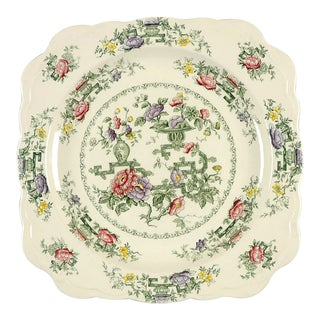 """Crown Ducal Chinese Garden 11"""" Square Serving Platter For Sale"""