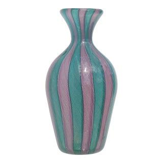 Venini Style Murano Teal Green Pink Zanfirico Ribbons Italian Art Glass Cabinet Flower Vase For Sale