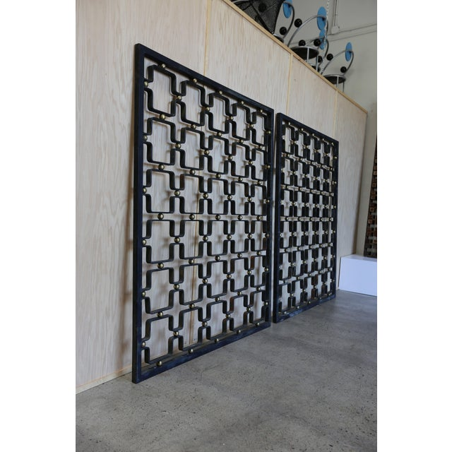 Mid 20th Century Iron & Brass Architectural Screens - a Pair For Sale - Image 5 of 7