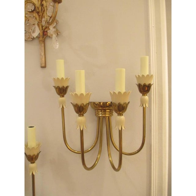A pair of Mid-Century Italian tulip motif brass sconces with four arms.