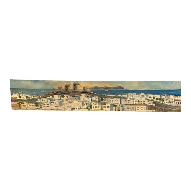 Monumental Oil Painting Mykonos Island Greece Signed by G.Tsitsilianos 1986 For Sale