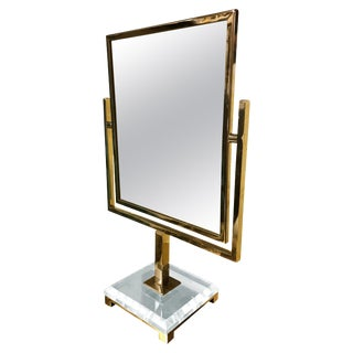 Charles Hollis Jones Vanity Mirror in Polished Brass and Lucite For Sale