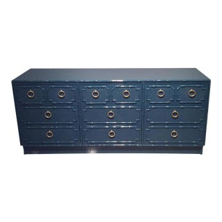 Vintage Faux Bamboo Lacquered Credenza Dresser
