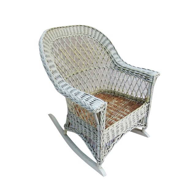 White Wicker Rocker - Image 1 of 6