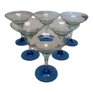 Late 20th Century Memphis Style Blue Footed Martini Glasses - Set of 6 For Sale