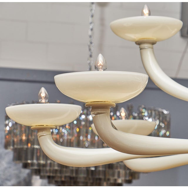 Ivory Murano Glass Chandelier For Sale In Austin - Image 6 of 10