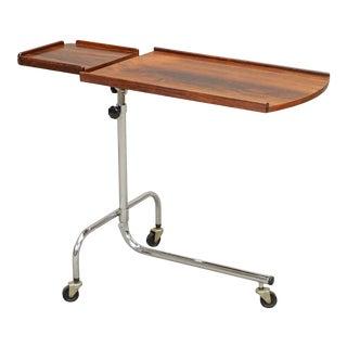 Vintage Danish Adjustable Rosewood & Chrome Reading Table For Sale