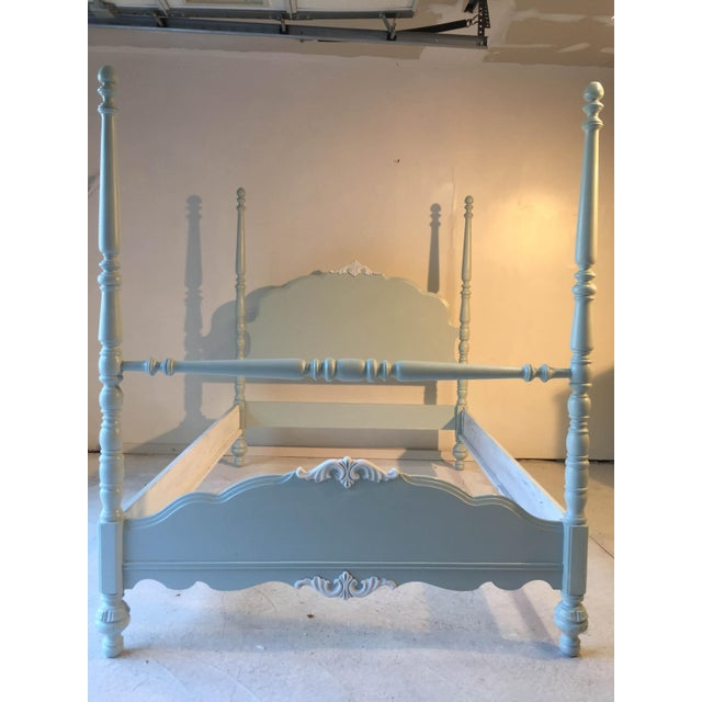 Cottage Country French Style Antique Bed Newly Painted in Sea Foam Green/Linen White Double Size. Seasonal cracks in...