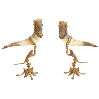 Extraordinary Pair of Mounted Horns For Sale