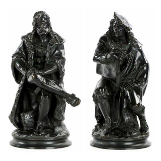 Albert Carrier-Belleuse Sculptures of Rembrandt and Albrecht Dürer, 19th Century - A Pair For Sale