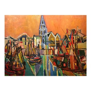 """The Harbour"" Oil Painting by Jean Chevolleau For Sale"