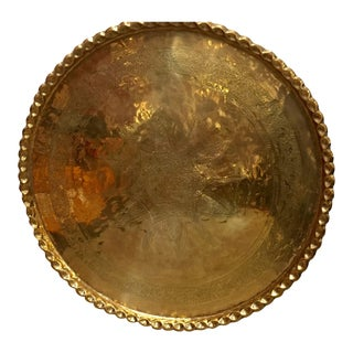 1900s Anglo-Raj Brass Tray Platter For Sale