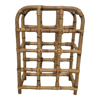 Vintage Bamboo and Rattan Wine Rack For Sale