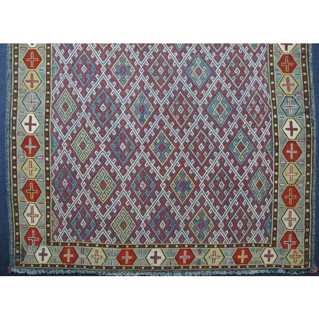 Islamic 19th Century Fine Silk Flat-Weave For Sale - Image 3 of 6