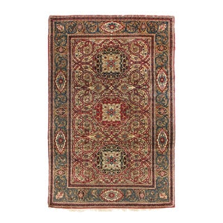 Late 19th Century Antique Isfahan Red and Golden Beige Wool Persian Rug- 4′6″ × 7′ For Sale