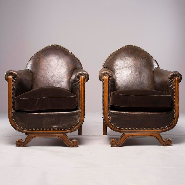 All Original French Art Deco Leather Club Chairs With Velvet Cushions-A Pair For Sale - Image 13 of 13