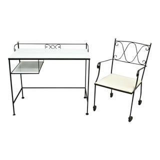Mid-Century Modern Gallo Original Works Wrought Iron Desk and Chair - 2 Pieces For Sale