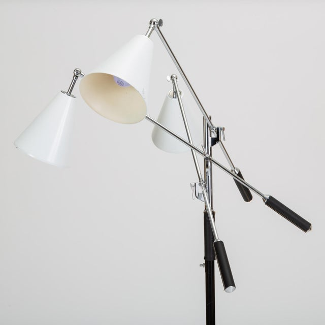 Arteluce Three-Arm Italian Modernist Floor Lamp With Marble Base For Sale - Image 4 of 13