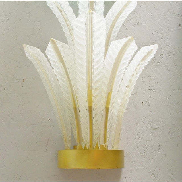 1960s 1960s Italian Barovier E Toso Frosted Murano Glass Leaves Sconce For Sale - Image 5 of 10