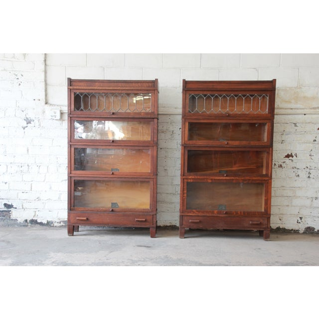 Antique Globe Wernicke Leaded Glass Door Oak Barrister Bookcases A