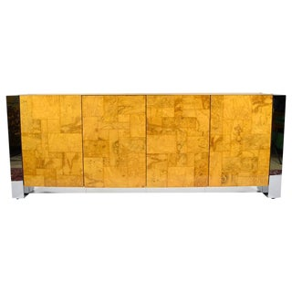 Paul Evans Cityscape Console in Burl Wood and Chrome For Sale
