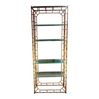Chinoiserie Style Faux Bamboo Gilt Iron Bookshelf Étagère For Sale