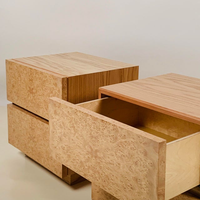 Wood Minimalist 'Amboine' Burl Wood Nightstands by Design Frères - a Pair For Sale - Image 7 of 12