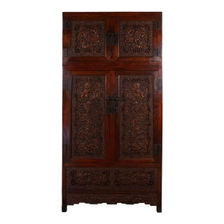 Chinese Antique Carved Camphor Wood Compound Wardrobe