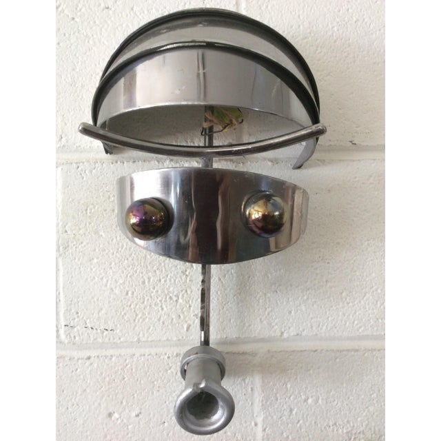 Vintage Iron & Steel Atomic Robot Wall Sculpture For Sale - Image 4 of 9