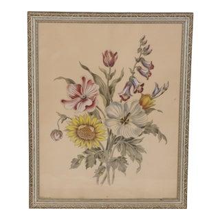 1940 Vintage Hand Colored Framed Botanical Floral Print For Sale