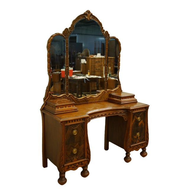 """French Bassett Furniture French Regency Style 47"""" Vanity With Mirror For Sale - Image 3 of 13"""