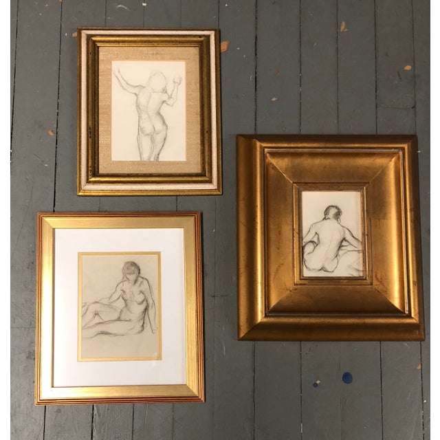 Gallery Wall Collection 3 Original Female Nude Charcoal Studies For Sale In Philadelphia - Image 6 of 6