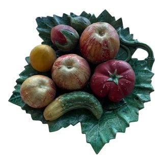 Antique Portuguese Palissy Ware Large Vine Leaf Plate, Majolica, Caldas Portugal, Barbotine For Sale
