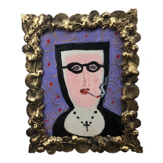 """""""Portrait of a Smoking Nun"""" Contemporary Acrylic Painting, Framed For Sale"""
