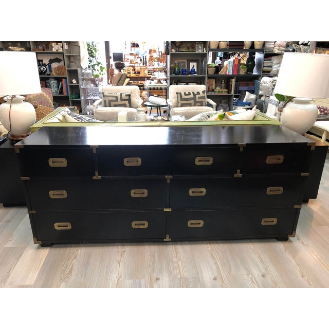 Late 20th Century Black Campaign Style Wide Dresser For Sale - Image 13 of 13