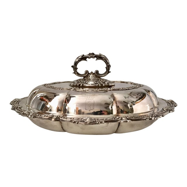 Antique Sheffield Silver Plate Scroll Borders & Armorial Crest Serving Dish With Cover For Sale