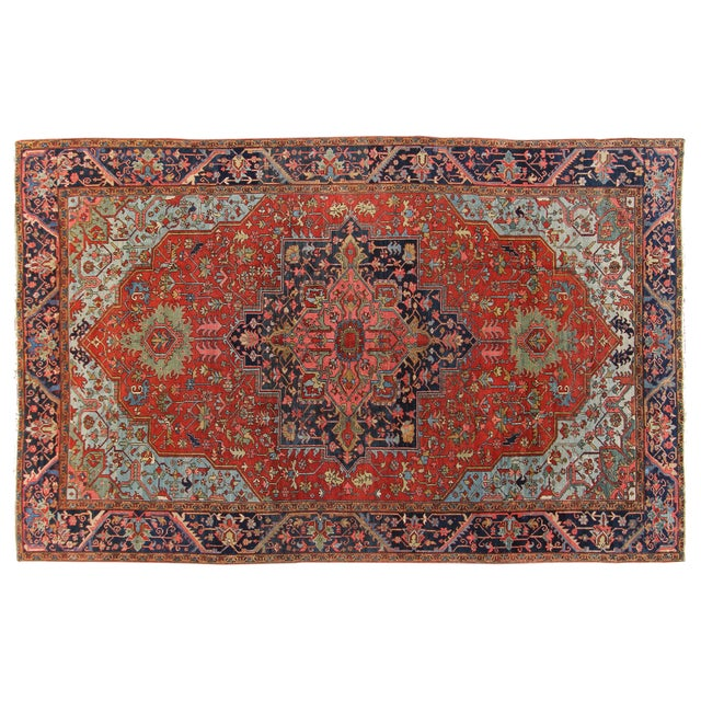 """Hand-Knotted Heriz Rug - 10' x 15'4"""" For Sale"""