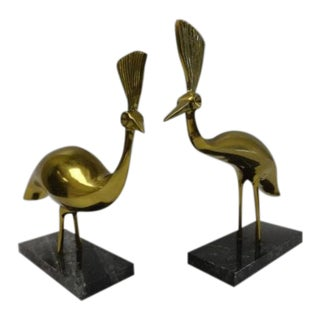 Hollywood Regency Brass Birds on Marble Bases - a Pair For Sale