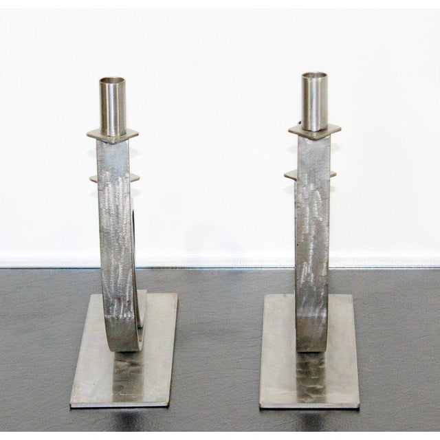 Gray Mid-Century Modern Sculptural Aluminum Candleholders Studio Artist Haghiri - a Pair For Sale - Image 8 of 12