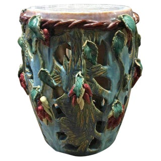 20th Century Oriental Glazed Pottery Garden Stool