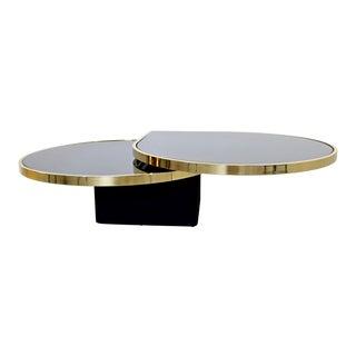Modern Dia Brass & Smoked Glass Teardrop Swivel Coffee Cocktail Table 1980s For Sale