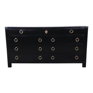 Baker Furniture Hollywood Regency Ebonized Long Dresser For Sale
