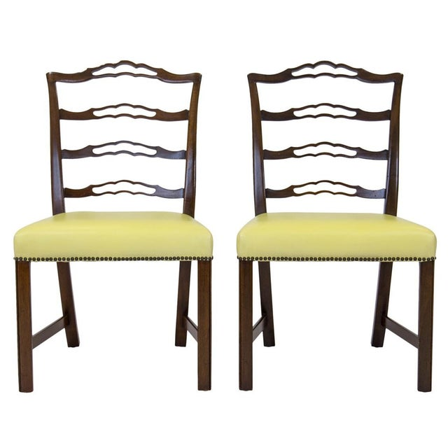 Metal Mahogany Ladder Back Side Chairs, a Pair For Sale - Image 7 of 8